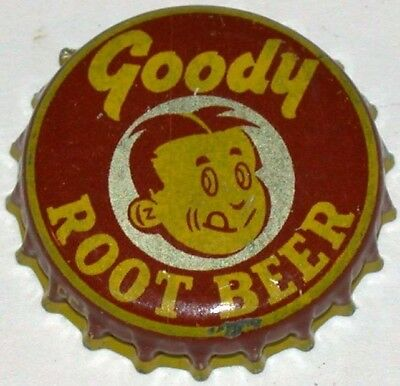 Vintage soda pop bottle cap GOODY ROOT BEER boys face pic cork lined used exc++