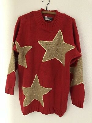 Vintage 80s Red gold Big Star Sweater Size M/L Oversized School Spirit dress