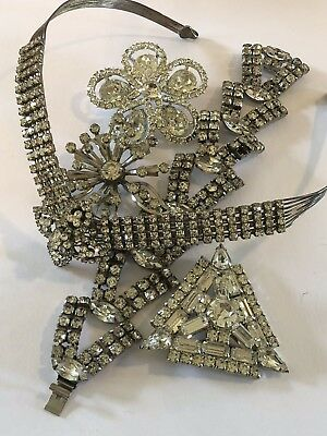 Vintage Rhinestone Jewelry. Lot of 5. Brooches Choker Clear. See Description #20