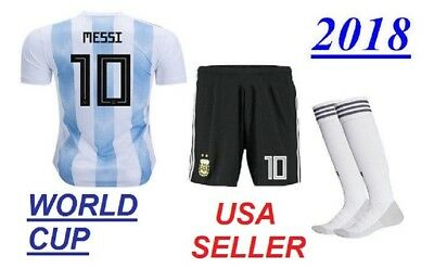 Argentina Messi Home Jersey + Shorts + Socks Kids Set Youth XL (12-13 Years)