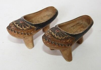 Miniature PAIR Antique HAND CARVED WOOD Dutch Eastern CLOGS Slipper SANDAL SHOES