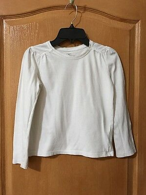 Faded Glory Girls White Crew Neck Long Sleeve Tee, Size M (7-8)