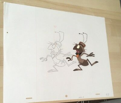 pink panther , ant and the aardvark production cel  matching pencil drawing hand