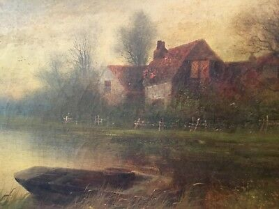 Beautiful Early 19th Century English Landscape River Signed River Avon Cotswold