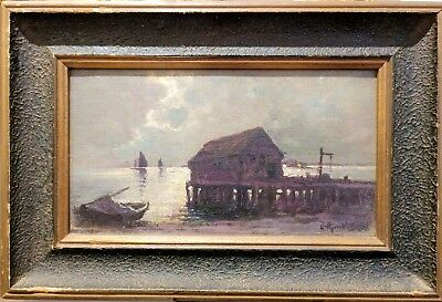 """""""The Wharf Provincetown"""" Provincetown Players Oil Painting by Arthur V. Diehl,"""