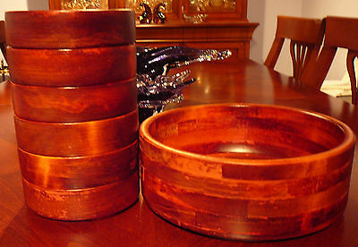 7 pc vintage BARIBOCRAFT TEAK WOOD SALAD BOWL SET wood and maple wood strips