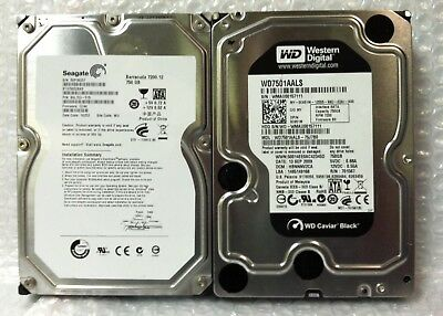 Lot of 2 Western Digital Caviar Black Seagate Barracuda 750GB Hard Drives 3.5""