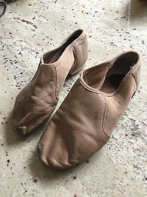 Bloch Tan Leather Split Toe Jazz Shoe Child 5m- 7M US (age 7/8)