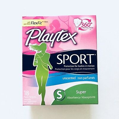 Playtex Sport Tampons Plastic Applicators Super Absorbency Unscented 18 EACH