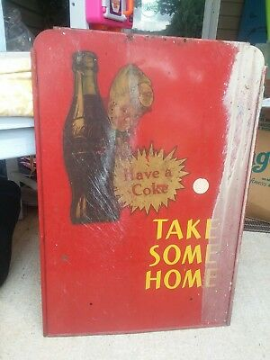 VINTAGE COCA COLA SODA  TAKE SOME HOME RACK SIGN COKE 16x23.5 Fair Cond