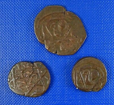 Early Unidentified Islamic / Persian Coins - AE x 3- 15 -23mm - 3.47 - 3.94 gr.