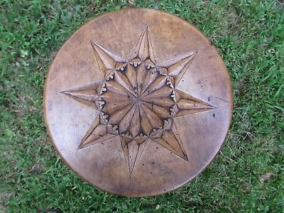 "ANTIQUE ENGLISH CARVED WALNUT STOOL 14 1/2"" High 10 1/2"" Across Top"
