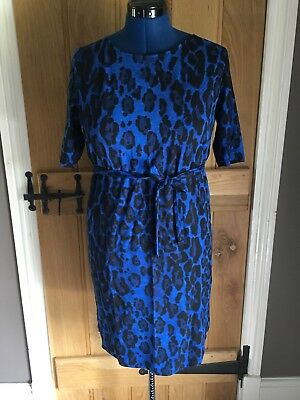 Mamalicious Maternity Bright Cobalt Blue Animal Print Dress BNWT Size XL 14