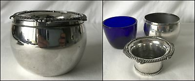 Antique 3-Piece Teapot Tea Slop? Container Silver Plate & Cobalt Glass Insert