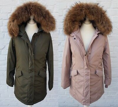 uk availability e975d cbdb3 DAMEN WINTER MANTEL Parka Jacke mit Echtfell Fellkragen Pelz Fell oliv oder  rosa