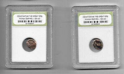 2 Ancient Roman Empire Constantine the Great Coins Nice Quality c 330 AD Slabbed