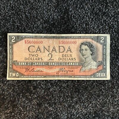 1954 BANK of CANADA~$2~DEVILS FACE~REMARKABLE SERIAL NUMBER!!! Beattie/Coyne