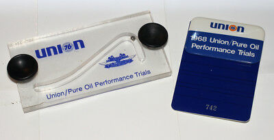 Union Pure Oil Performance Trials 1968 set Badge and Window Plaque NASCAR