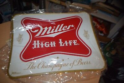 MILLER HIGH LIFE Metal Tin Tacker Beer Sign Champagne of Beers BRAND NEW
