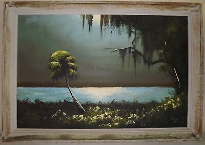 Early Signed James Gibson (1928-2017) Large Florida Highwayman Painting Upson