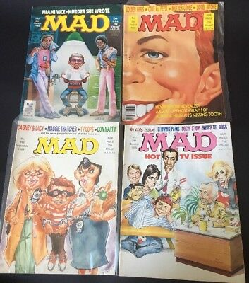 Mad Magazine UK X4 - 1986 Issues 287, 292, 294, 296 Cagney & Lacy, Miami Vice