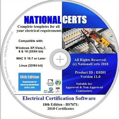 ELECTRICAL CERTIFICATES SOFTWARE BS7671: 2018 18th EDITION COMPLIANT NEW