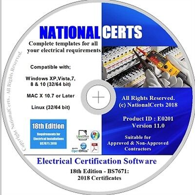 NEW BS7671: 2018 18th EDITION REGS COMPLIANT - ELECTRICAL CERTIFICATES SOFTWARE-