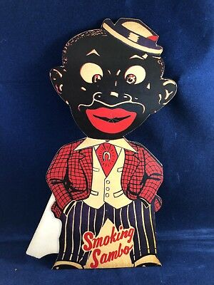 Vintage Black Americana Smoking Sambo Fold Out Store Sign Advertising Tobacco