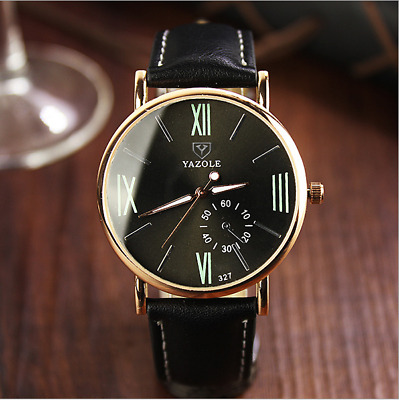 Luxury Ultra Thin Slim Genuine Leather Men's Analog Quartz Wrist Watch Fashion