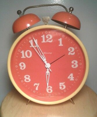Vintage 1970s West Germany BLESSING Yellow & Orange Windup Alarm Clock