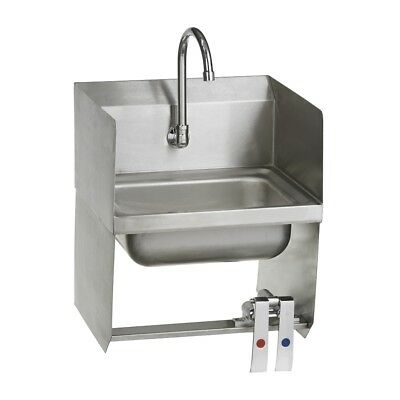 Stainless Steel Commercial Wall Mounted Hand Sink with Knee Valves - 12 X 17