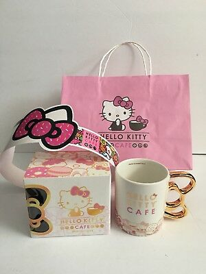 Hello Kitty Cafe 2018 Exclusive Metallic Gold Bow Handle Mug With Extras NEW!