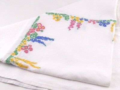 Small Vintage Embroidered Tablecloth - Coloured Lupins
