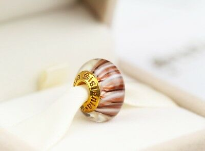 Authentic Sislenia 310315 Murano Glass 24K Gold plated Charm New Great Gift