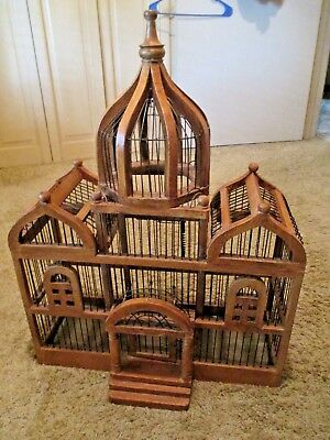ANTIQUE Lg TRIPLE DOMED WOODEN CATHEDRAL TAJ MAHAL BIRD House CAGE DECO ESTATE