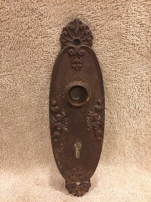 Antique Vintage Cast Iron Victorian East Lake Doorknob Back Plate