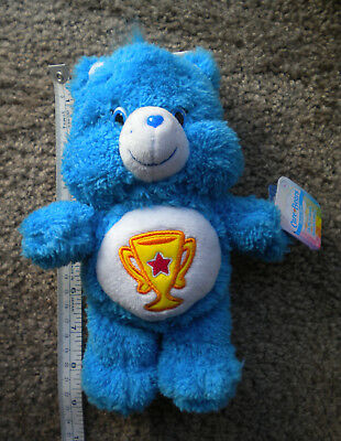 """American Greetings Care Bears Blue Champ Bear Fluffy Friends 8"""" Special Edition"""