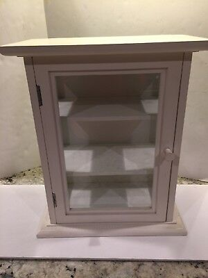 VINTAGE MEDICINE CABINET white table top or mounts 3 shelf glass and wood paint
