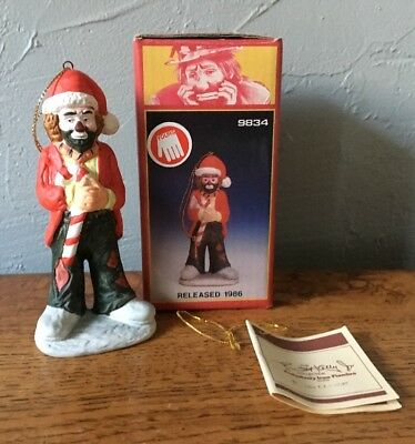 Emmett Kelly Jr. SIGNED Christmas Ornament Clown In Box Flambro 9834 Candy Cane