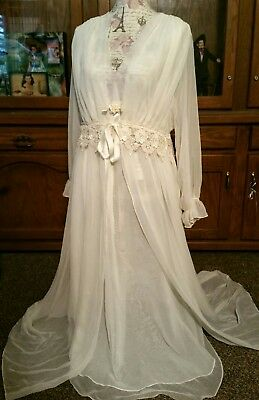 Grecian Goddess Gown and Robe set NWT Peignoir Nightgown Lingerie L Bridal WOW!!