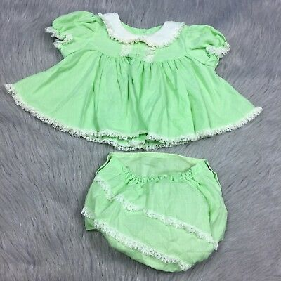 Vintage Green Cream Lace Ruffle Baby Girls Top Bloomers Set