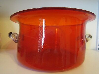Antique Hand Blown Cranberry Amberina Huge Glass Bowl w/ Clear Handles- RARE!