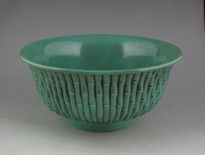 Large Chinese Antique Green Glaze Carved Porcelain Bowl with Mark