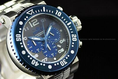 New Invicta Men's 50mm Pro Diver Chrono 18K Yellow Gold Blue Dial Watch 23704