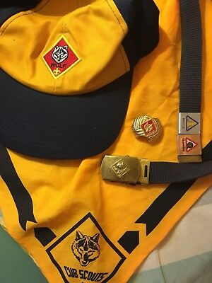 BSA Yellow Wolf Cub Scouts Belt Scarf Hat And Slide