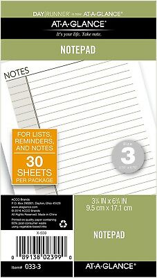 "At-A-Glance Day Runner Notepad Refill, 30 Sheets, Loose-Leaf, 3-3/4 x 6-3/4"","