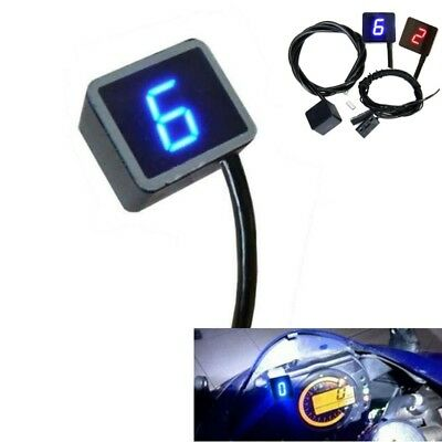 Blue-LED Digital Gear Indicator Motorcycle ATV Bike Display Shift Lever Sensor
