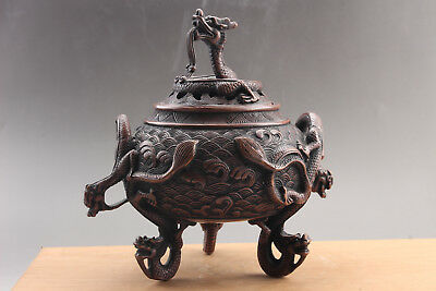 Exquisite Chinese pure copper hand Carved  dragon  Incense burner  xuande mark