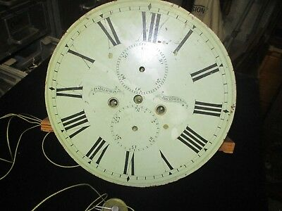 """Antique Grandfather Clock Movement With Round 13"""" Dial - 8 Day T/s"""