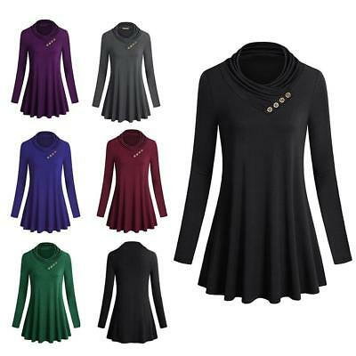 Women's Autumn Long Sleeve Irregular Solid Color Tunic Tops Blouse Spring
